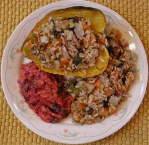 Stuffed Acorn Squash (Greek Style) Plated