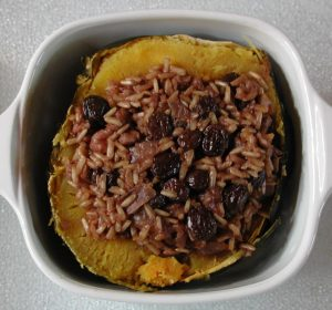 Acorn Squash Baked with Rice Raisin Nut Stuffing