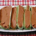 Celery Stuffed with Chick Pea and White Kidney Bean Dip