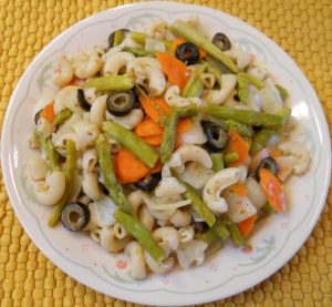 Asparagus Carrots Olives Onions Pasta Primavera (Brown Rice Elbows)
