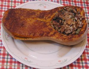 Baked Butternut Squash with Saba Cooking Banana Stuffing