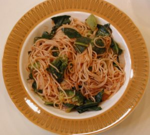 Broccoli Collard Greens Angel Hair Pasta